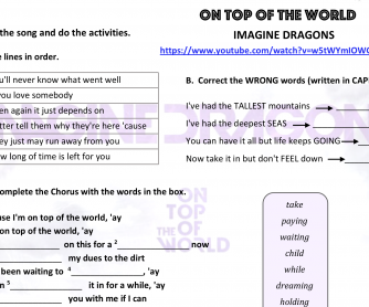 Song worksheet On Top of the World