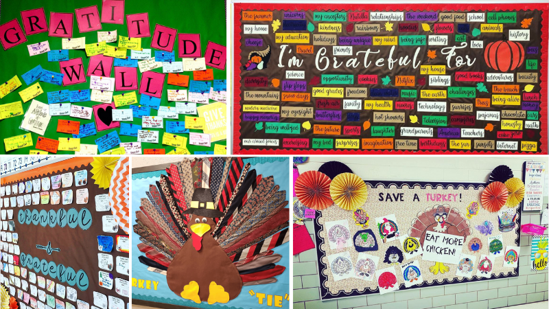 17 Thanksgiving Bulletin Boards and Door Decorations To Celebrate Gratitude