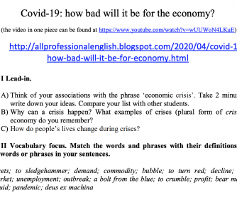 Covid 19 and the Economy