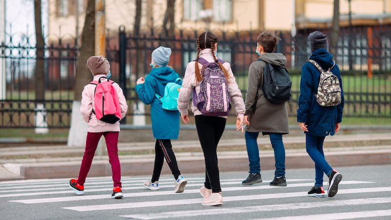 Walking School Bus Trend Gets Students to School on Time